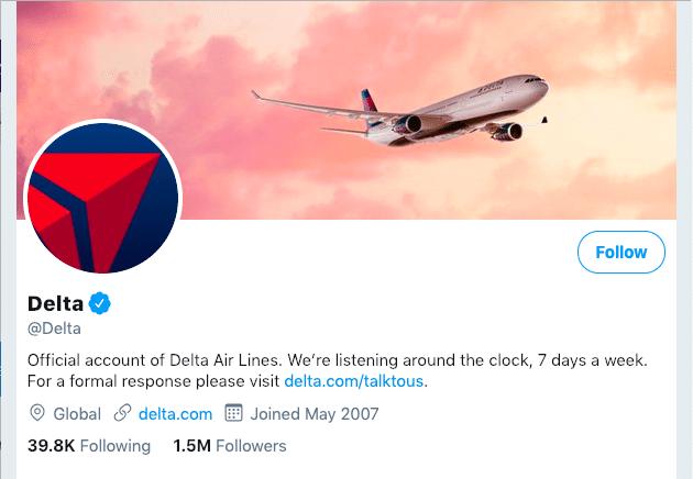 Delta Business Twitter